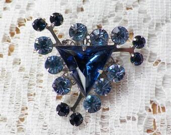 Vintage Light Blue / Dark Blue Rhinestone Brooch / Pin / Broach, Blue Triangle, Geometric, Rhinestones, Two Tone, Silver Tone Metal, Bridal
