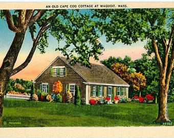 Vintage Cape Cod Postcard - An Old Cape Cod Cottage at Waquoit (Unused)