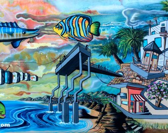 Lost in San Diego -  High Quality Giclee Paper Print of California Surreal Landscape Art by Mizu
