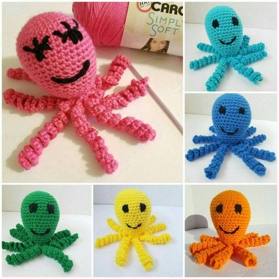Plush Octopus Amigurumi, Plush Octopus Baby Toy, Octopus Toddler Sensory Toy, Stuffed Octopus Toddler Learning Toy, Plush Octopus Travel Toy