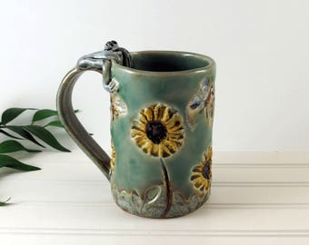 Daisy Mug - Handmade Coffee Cup made with Daisies, Butterflies and a Frog - Blue Pottery Tea Mug - Gift for Her - Coffee Lover - 381