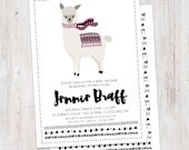 Baby Shower Invitation : Llama Shower  Invitation, Printable Custom Girl or Boy Aztec Tribal Invite, Boho Baby, Scandinavian