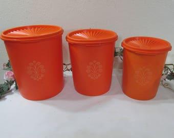 Tupperware Cannister Set of 3 Orange with Servalier Lids