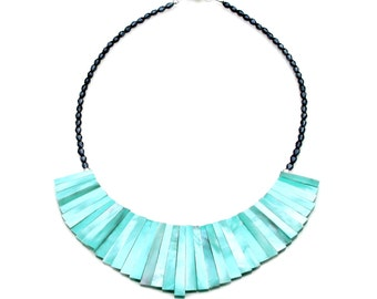 Turquoise Blue Hammer Oyster Shell Collar Necklace STATEMENT Blue Shell Bib Necklace Boho Beach Chic Graduated Fan Design by Mei Faith