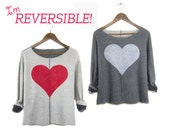 Two Sided Heart Sweatshirt - Reversible Scoop Neck Oversized Cropped Boucle Sweater in Red & Triblend Heather Grey - Women's Size S-2XL
