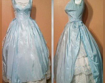 50s blue tafetta formal prom dress / formal party gown / full puffy gown
