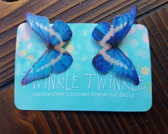 1 Pair Graffiti Blue Pink White Silk Butterfly Hairclips