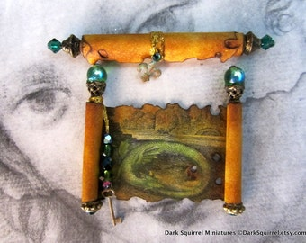 Aged Dragon  Medieval Scroll Set dollhouse miniature, wizard in 1/12 scale