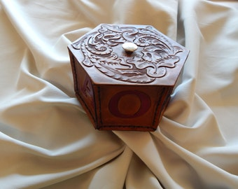 Hand carved leather Keepsake box