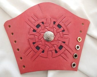 Leather bracers, gauntlets, cuffs, armour Celtic round knot, choice of Concho...