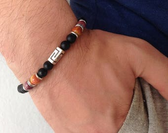 Greek key bracelet - Black onyx mat beads & Mookaite beads - Greek jewelry - For men or women