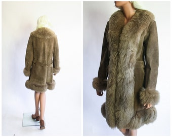 70s Penny Lane Suede Coat Shearling Fur 1960s Mod Leather Jacket 1970s Bohemian 60s Boho Hippie Winter Princess Almost Famous Medium Large