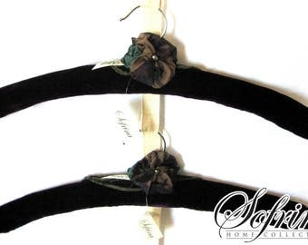 Dark Orchid Hangers | Set of Two | Velvet, No Slip Deep Purple Clothes Hangers | Blue, Chocolate, Teal Silk Flower Accents | Gifts for Her