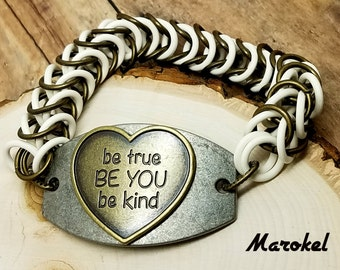 Be You Chain Maille Bracelet Boxchain Be Kind Stretch Rubber links Brass White Silver