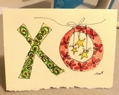 """Christmas Card """"Hug and Kisses"""" Watercolor Original Little Card """"3.5"""" x 4.78"""" With Matching Envelope"""