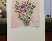 "Pastel Flowers Watercolor Card ""Small Card"" 3.5 "" x 4.75""  Stramore Canvas Card betrueoriginals"