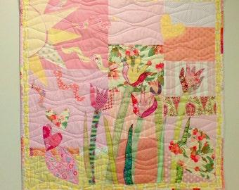 "Baby Quilt Flower Garden Full Of Love ...Cotton Quilt or Wall Hanging 43"" x 42"" Patchwork Quilt Designer Cottons betrueoriginals"