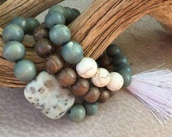 Dalmatian Jasper Howlite Turquoise Bead Bracelet Tassel Bracelet Set - Wood Beads Bohemian Stacking Style - DRIFT Handmade by SplendorVendor