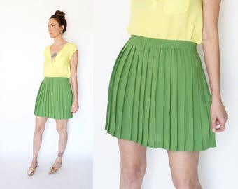90s ESPRIT pleated LIME mini skirt M