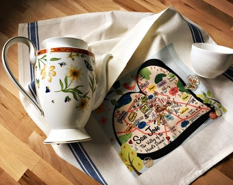 San Jose Map Kitchen/Tea Towel