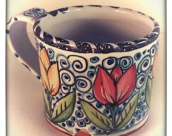 Majolica coffee mug - tea cup hand painted - red and yellow tulip design