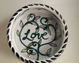 ceramic pet bowl - Majolica hand painted - wheel thrown pottery - vines leaves - expressions of love