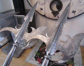 Renaissance Medieval Halberds Pole Weapons Set of 2