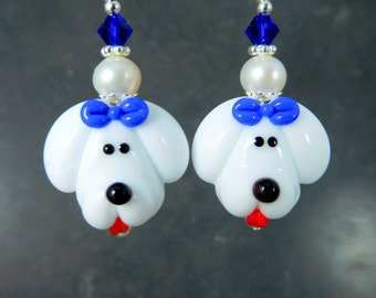 Poodle Dangle Earrings, White Puppy Dog Dangle Earrings, Pet Jewelry, Cute Animal Earrings, Maltese Bichon Frise Lampwork Glass Earrings