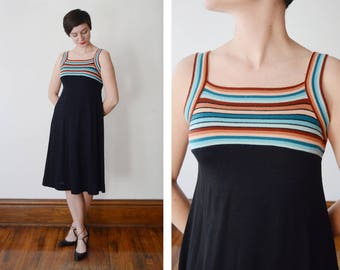 1970s Black Knit Tank Dress - XS/S/M