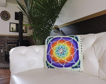 Vibrant stained glass crochet pillow 17x17 natural fibers