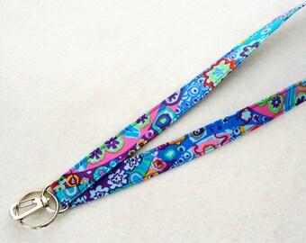 Colorful Kaffe Fassett Designer Fabric Lanyard Breakaway Lanyard ID Badge Holder Clip Key Ring Fob Millifiore Paperweight Cobalt Blue MTO