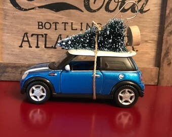 Mini Cooper Carrying Christmas Tree Ornament