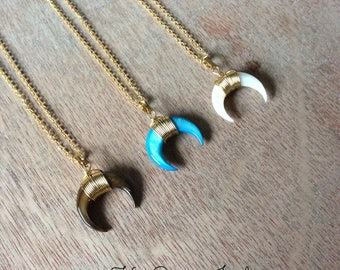 Crescent moon pendant necklace- Mother's Day gift- layering necklaces- gemstone necklace