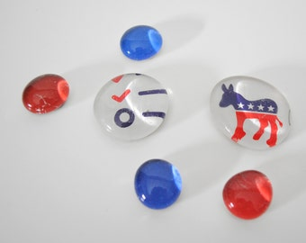 Democratic Donkey magnet or push pin set - made from recycled magazines, political, hostess gift, voting, presidential, Washington DC