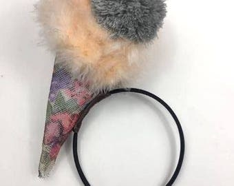 Ice cream cone sinamay and feather headband, headpiece