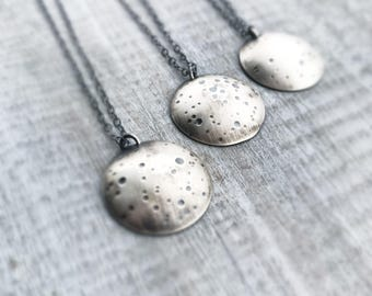 Moon Phases Necklace, Phases of the Moon, Moonstone Jewelry, Sterling Silver Moon Necklace, Full Moon, Crescent Moon, Gift for Women