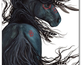 Sale - One in Stock ready to ship - Majestic Stallion Black Horse - 24x30 Inch Large Fine Art Print by Bihrle mm135