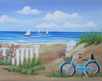 Summer Painting Enjoy the Ride Original on Stretched Canvas