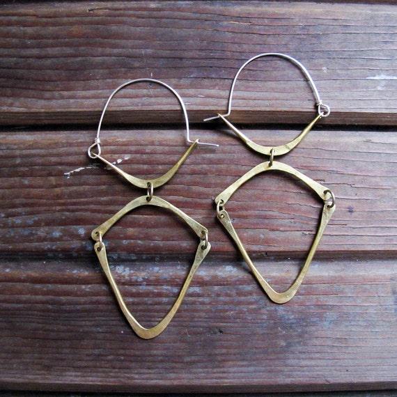 Connections Hoop - Long Brass and Sterling Hoops - Large Hoop Earrings - Lightweight Hoop Earrings
