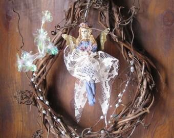 Teardrop Wreath Butterfly Fairy Pearl & Crystal Dream Catcher Dreamcatcher