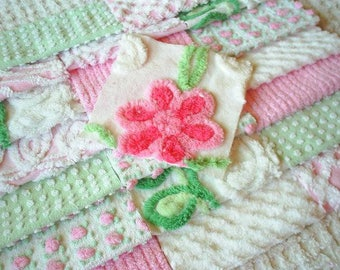 Vintage Chenille Bedspread Squares - Sweet Shades of Pink and Mint Green w/Rosebud and Daisy-21-6""