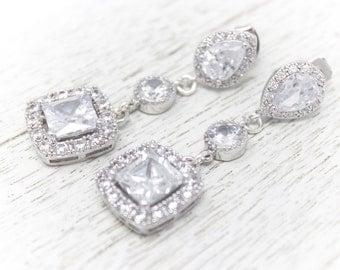 Bridal Earrings Rhinestone and CZ Long Wedding Earrings