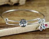 Silver Tree of Life Bangle, Family Tree Bangle, Birthstone Bracelet, Stainless Steel Bangle, Family Tree Bracelet, Tree of Life Bracelet