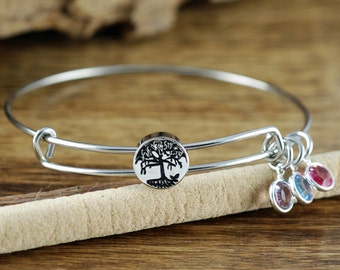 Silver Tree of Life Bangle, Family Tree Bangle, Birthstone Bracelet, Stainless Steel Bangle, Family Tree Bracelet, Tree of Life Bracelet