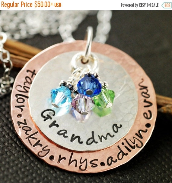25% OFF SALE Hand Stamped Necklace - Grandma Necklace - Personalized Jewelry - Birthstone Jewelry - Keepsake Necklace - Mother's Day Gift -