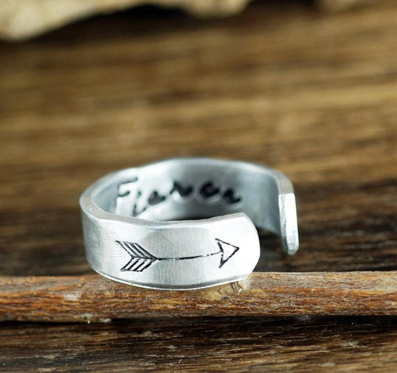 Be Fierce Ring, Arrow Ring, Secret Message Ring, Boho Ring, Inspirational Ring, Bohemian Ring, Personalized Ring, Personalized Cuff Ring