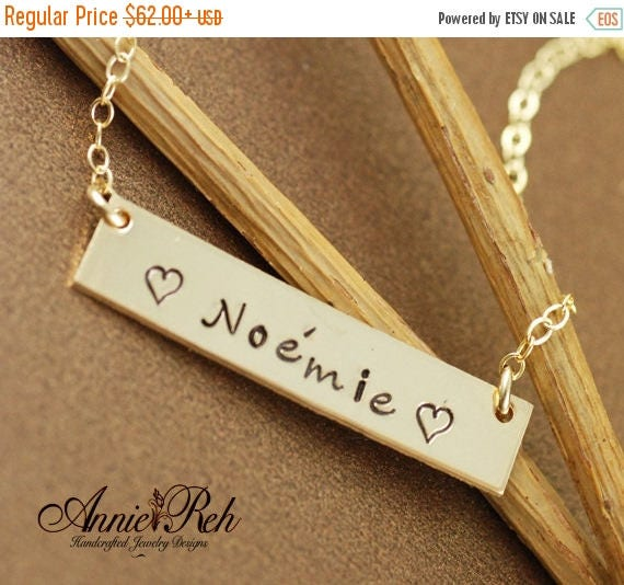15% OFF SALE Personalized Gold Bar Necklace - Gold Bar Name Necklace - 14kt Gold Filled - Gold Bar Necklace