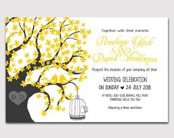 Digital Love Birds Elegant Wedding Invitation Package, DIY Wedding invitations, Printable wedding invitation, W23