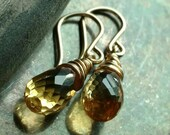 Holiday jewelry - Golden citrine earrings - 14k gold filled handmade wire wrapped jewelry - November birthstone Holiday accessories
