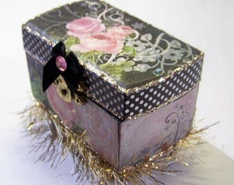 Decorated Box, Trinket Box, Box, Wooden Box, Jewelry Box, Pink and Black, Shabby Chic, Victorian Box, Gift for Her, Birthday, Proposal Box